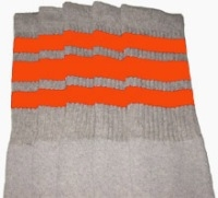 2b46d5f92be Knee high Grey tube socks with Orange stripes