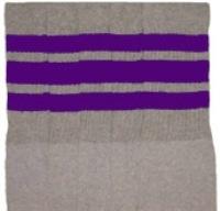 b8971fd2173 Knee high Grey tube socks with Purple stripes