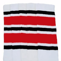 d79caa648 Knee high White tube socks with Black-Red stripes