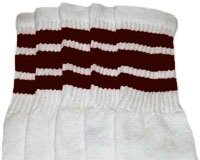 da71fcb0591 Knee high White tube socks with Dark Brown stripes