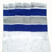 cd9dcabf6 Over the Knee White tube socks with Royal Blue-Grey stripes ...