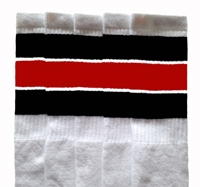 13b8e38bd Over the Knee White tube socks with Black-Red stripes