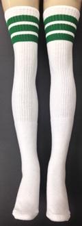5744c41690663 Thigh high White tube socks with Green stripes | Skatersocks